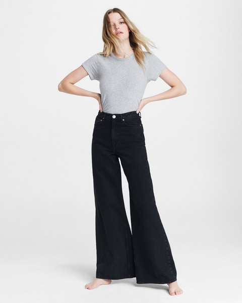 RAG & BONE Ruth Super High-Rise Ultra Wide Leg - Black Bird