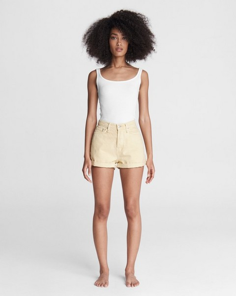 RAG & BONE Maya High-Rise Shorty Short - Lemon Drop