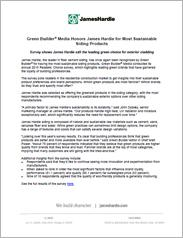 Green Builder® Media Honors James Hardie for Most Sustainable Siding Products