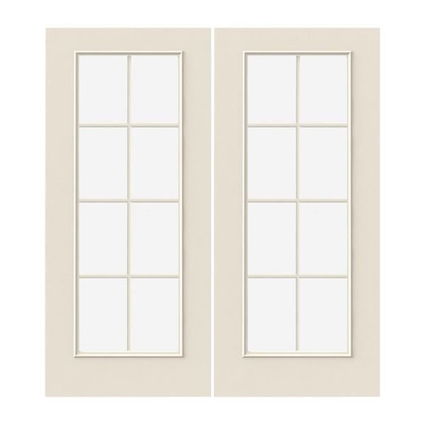 Prehung Exterior Steel 8-Lite Double Doors w/ Low-E Glass