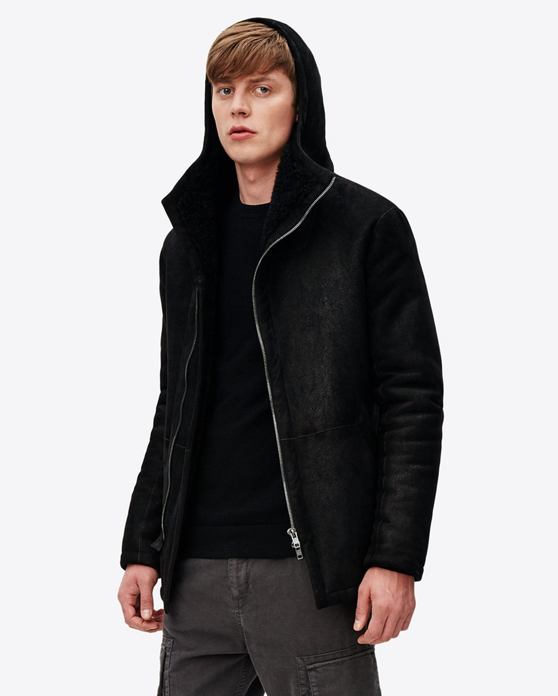 Helmut Lang Hooded Shearling Jacket  f410c35d9