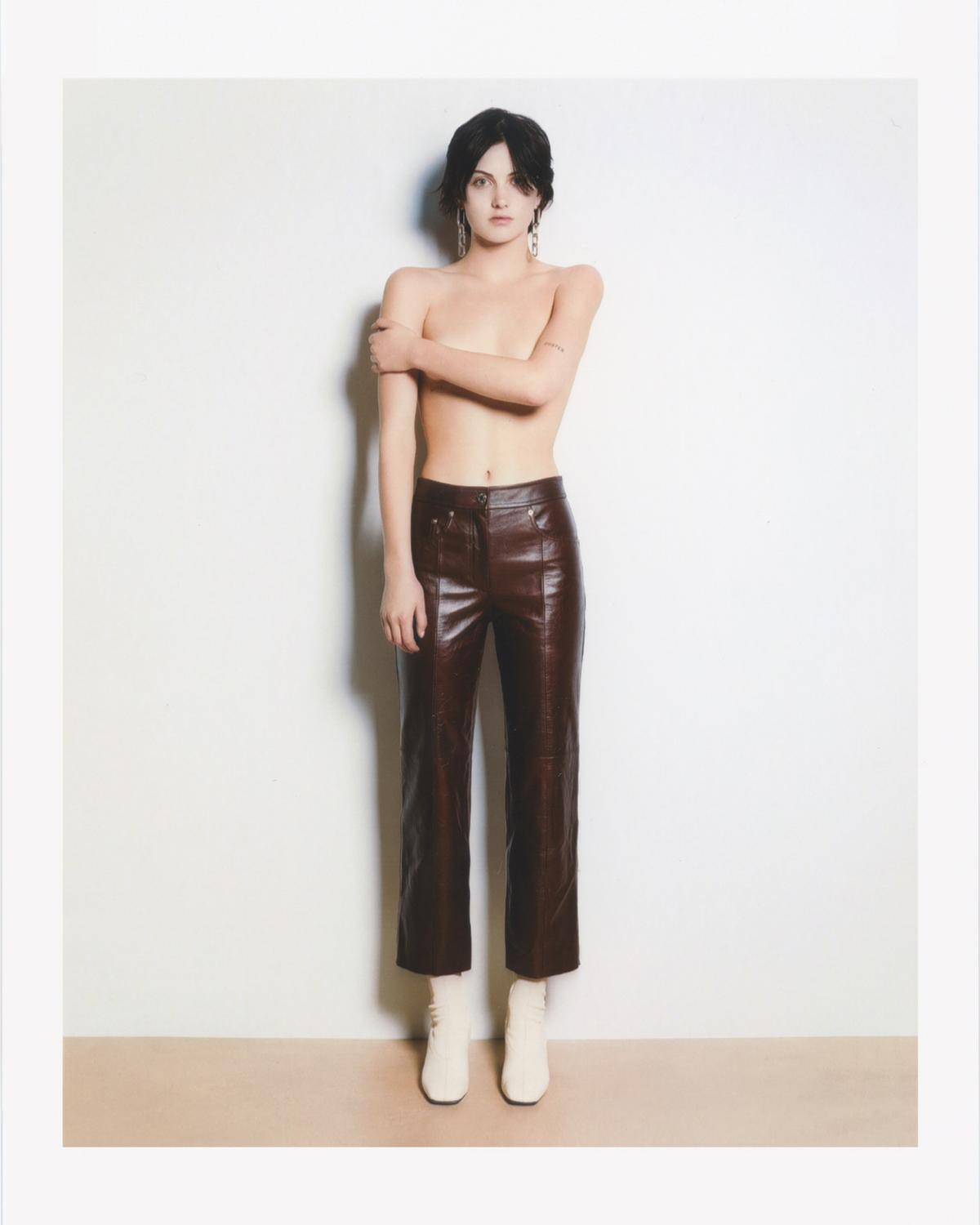 CROP LEATHER PANT