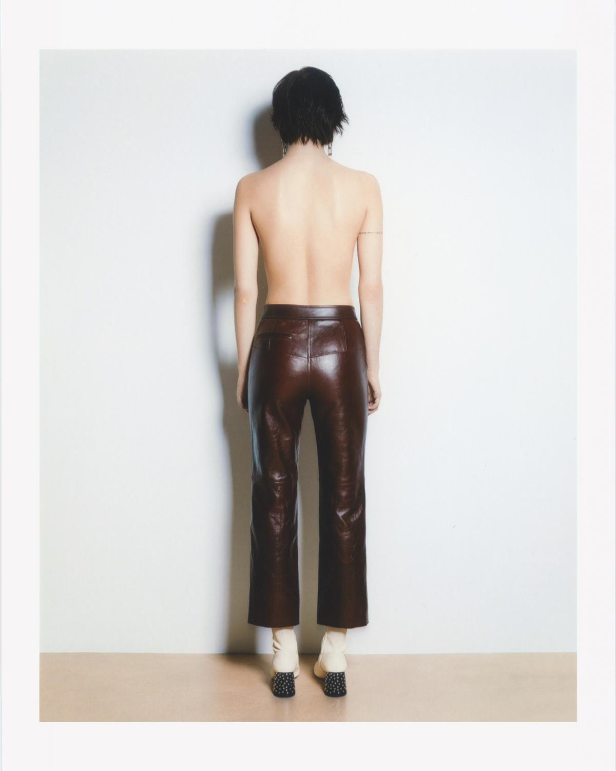 CROP LEATHER PANTS