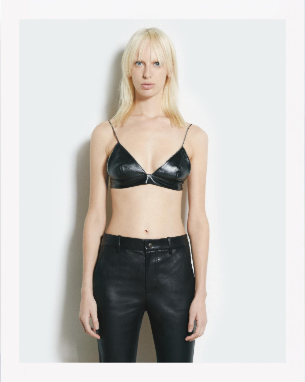 LEATHER TRIANGLE BRA