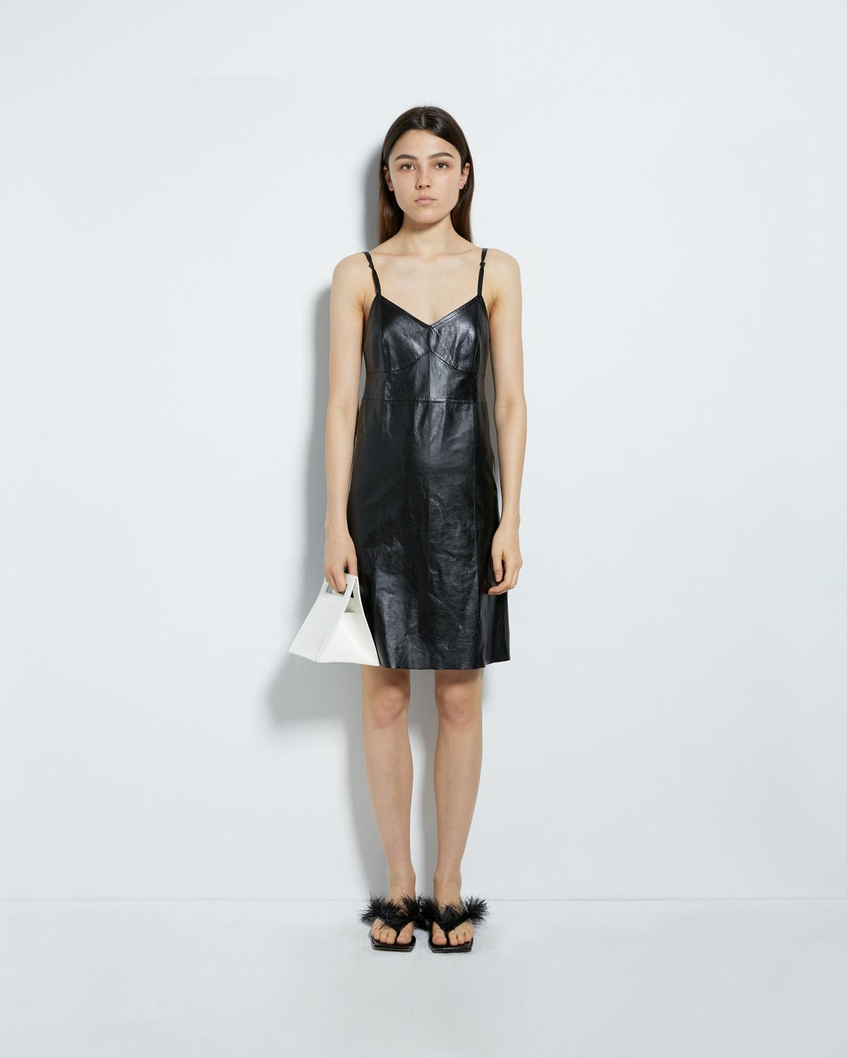 LEATHER SLIP DRESS
