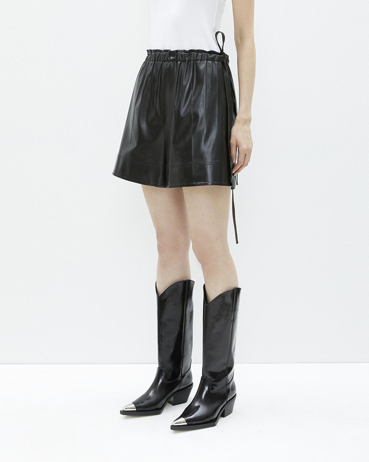 Leather Paper Bag Shorts