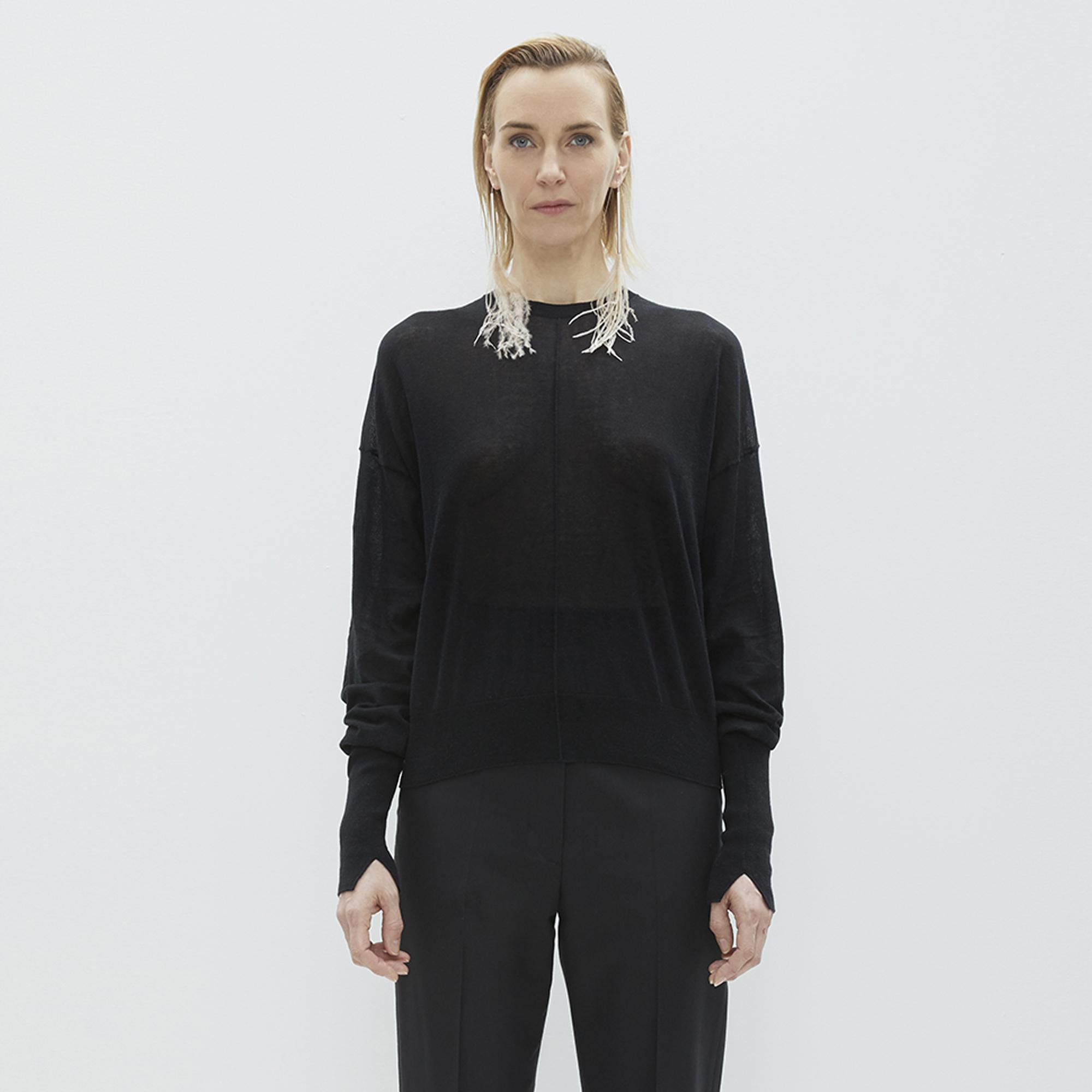 eeeb034a9 Helmut Lang Black Folded Sheer Crewneck Sweater