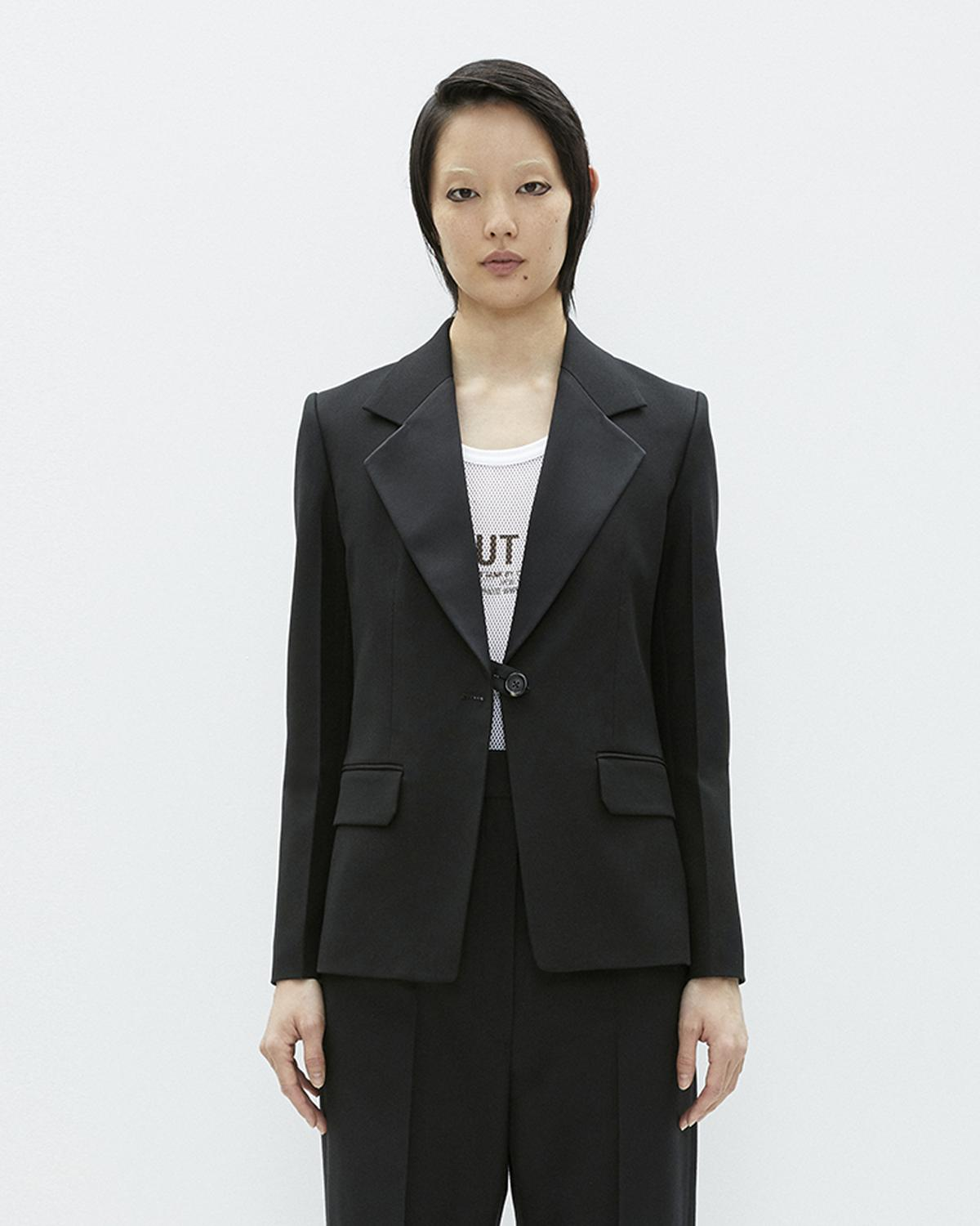 SHINY LAPEL CANVAS BLAZER