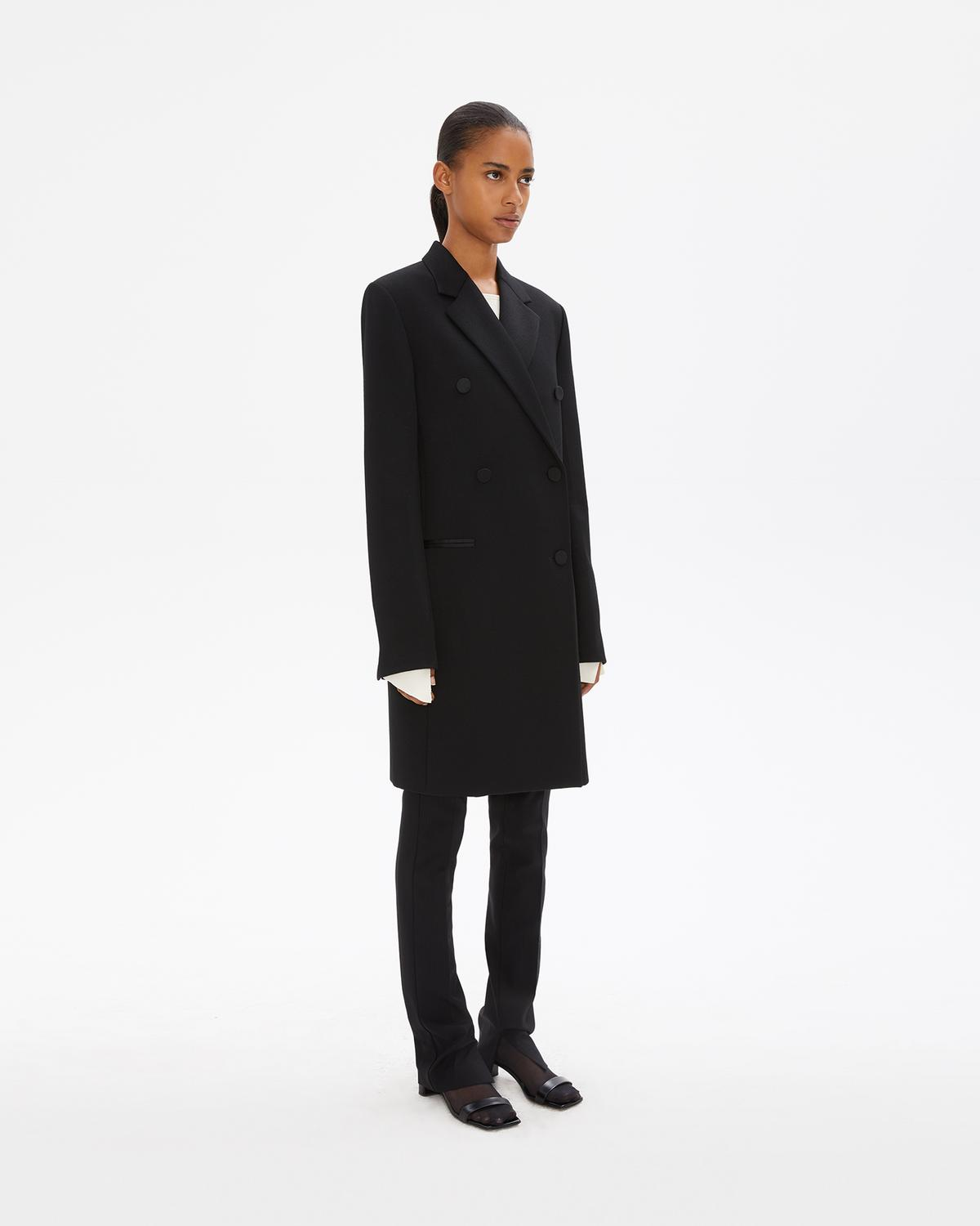 DOUBLE BREASTED WOOL BLAZER COAT