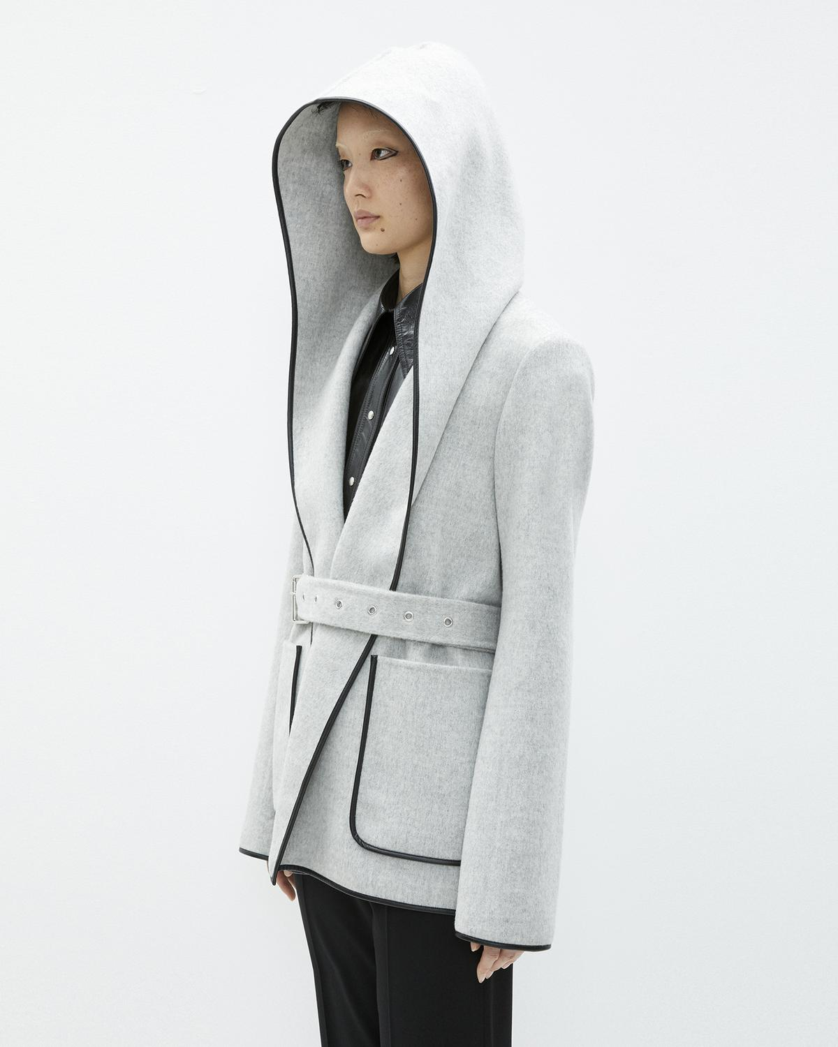 DOUBLE FACE WOOL HOODED COAT