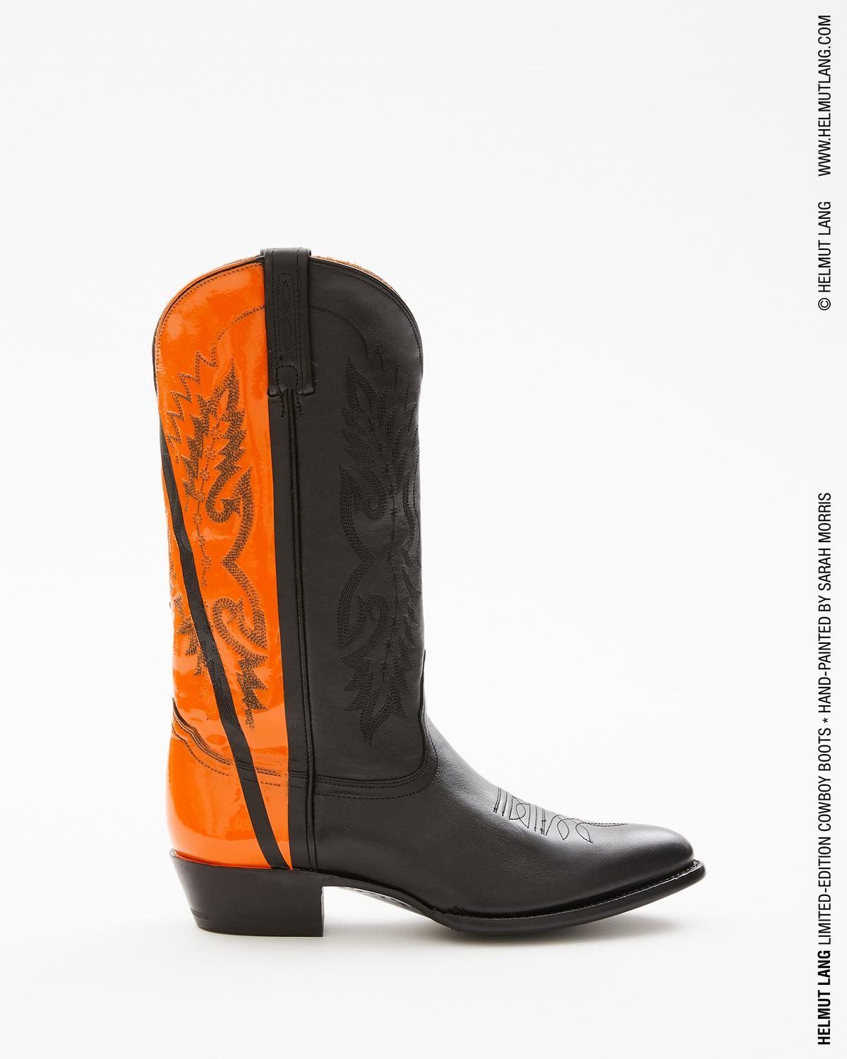 SARAH MORRIS ORANGE HAND-PAINTED COWBOY BOOT