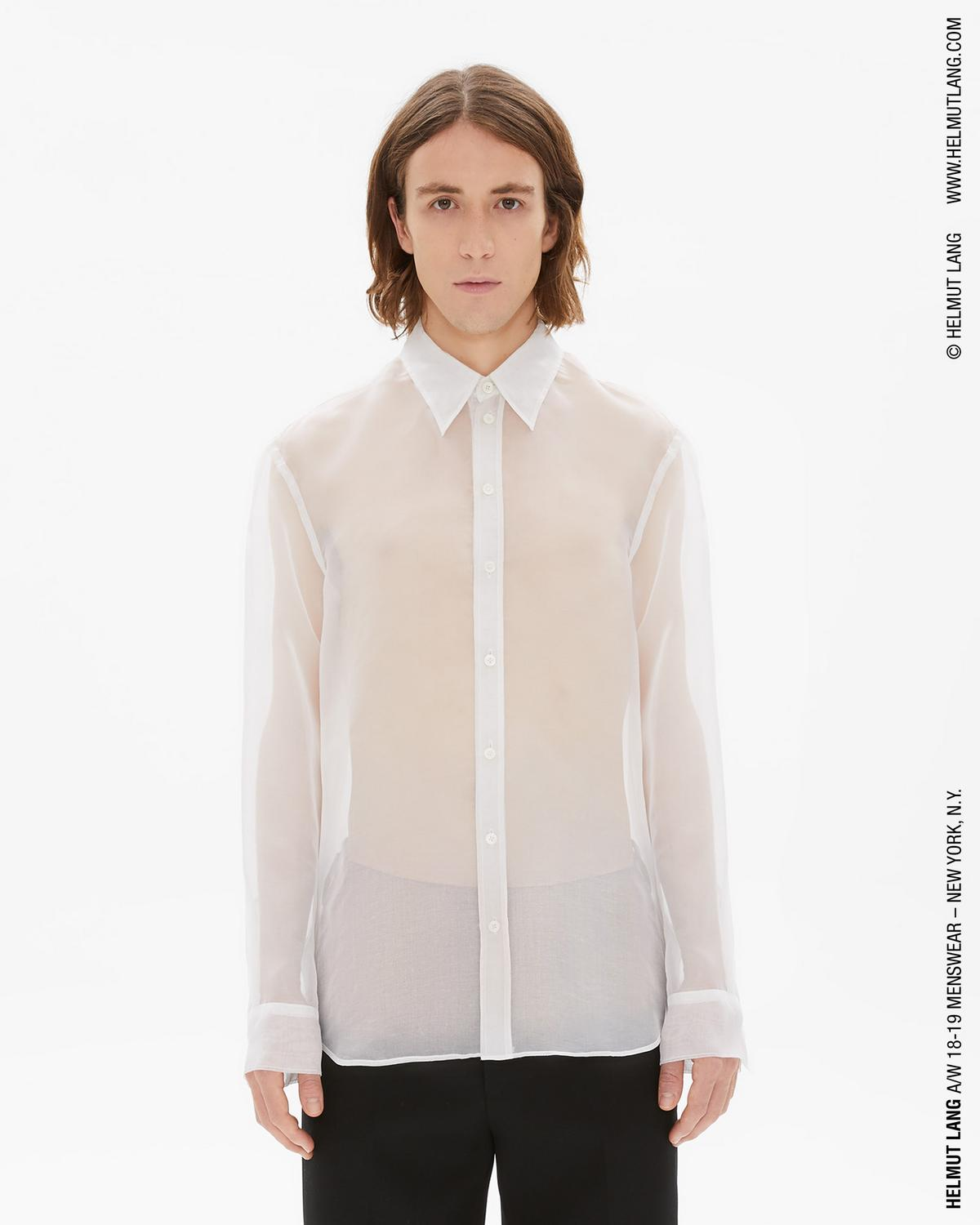TRANSPARENT SILK LOGO BUTTON DOWN SHIRT