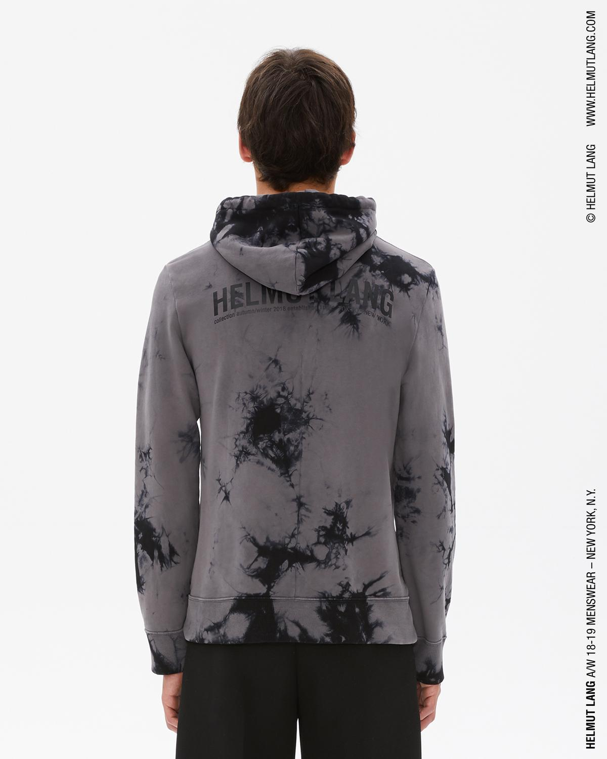 GREY/BLACK TIE-DYED LOGO DART BACK HOODIE