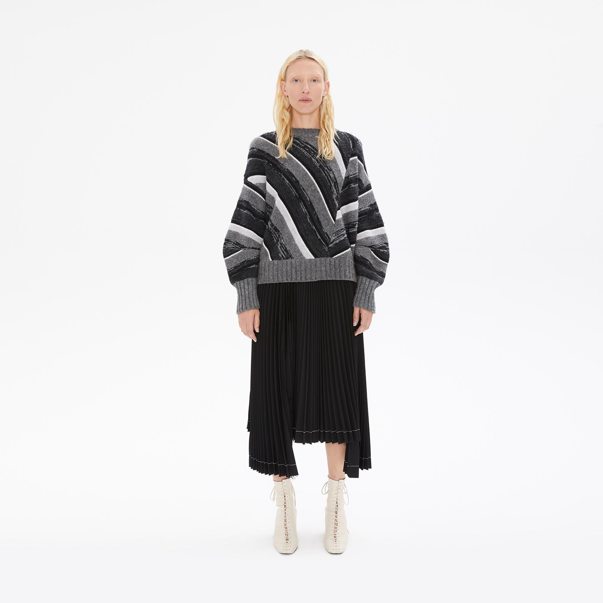 f5f4c75b3 Helmut Lang Shadow Melange Stripe Long Sleeve Ombre Crewneck Sweater ...