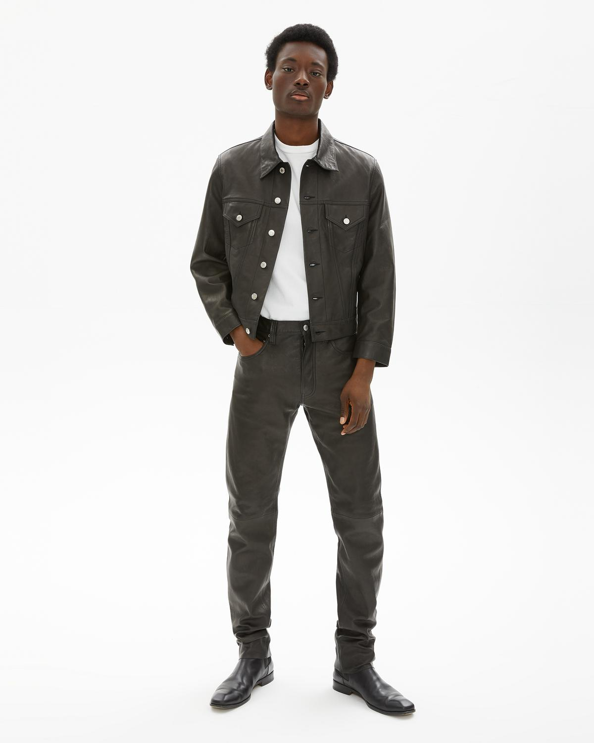 Masc Trucker Raw Leather Jean Jacket