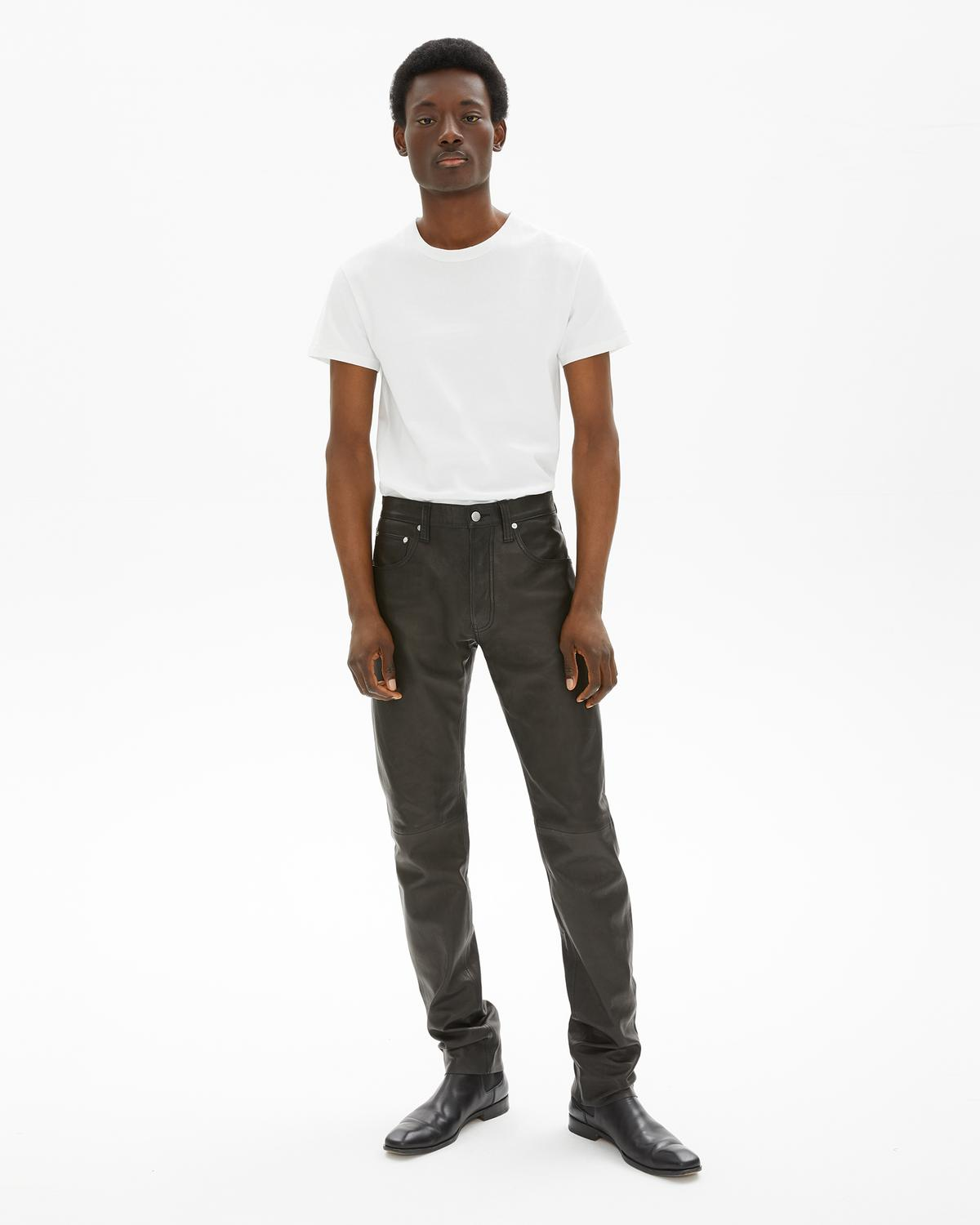 Masc Hi Straight Leather Jeans