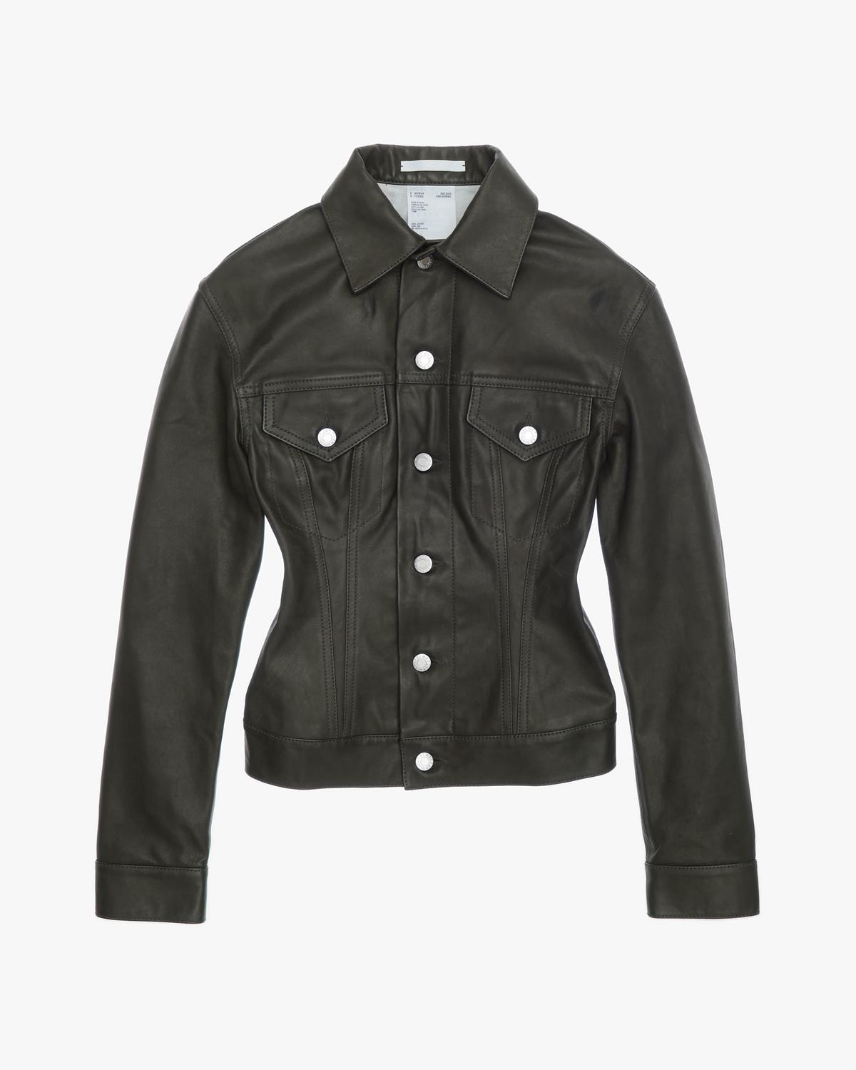 Femme Trucker Raw Leather Jean Jacket