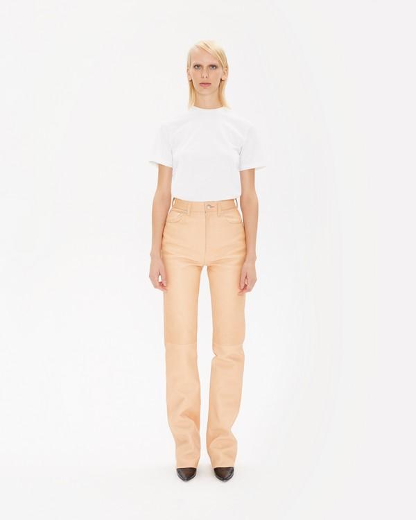 fcc94da7f699bd Femme Hi Bootcut Raw Leather Jeans