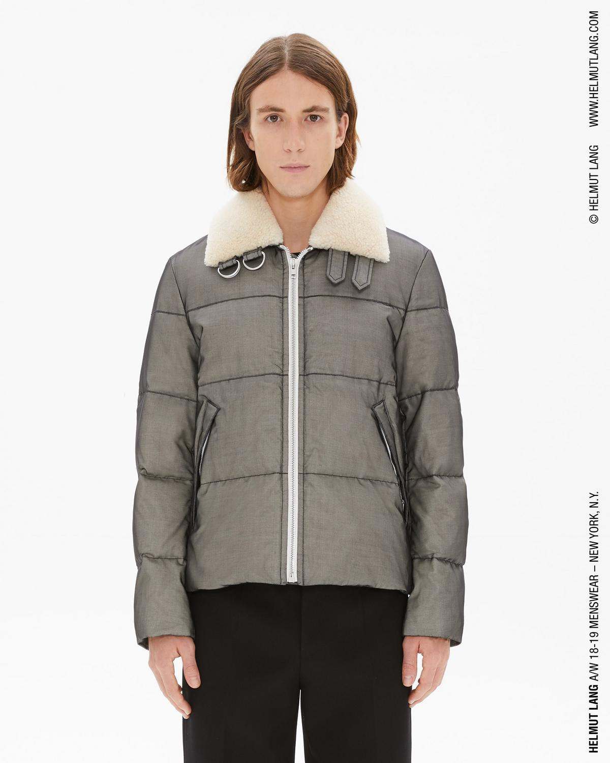 SILK ORGANZA BAND ZIP PUFFER JACKET