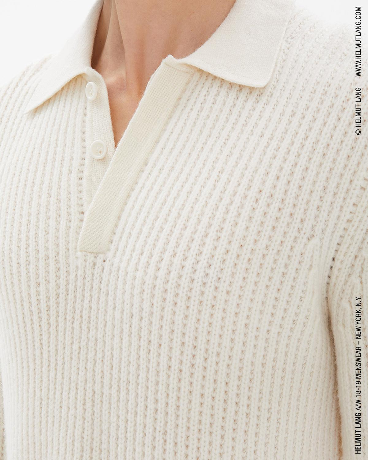 WOOL CARDIGAN STITCH POLO SWEATER