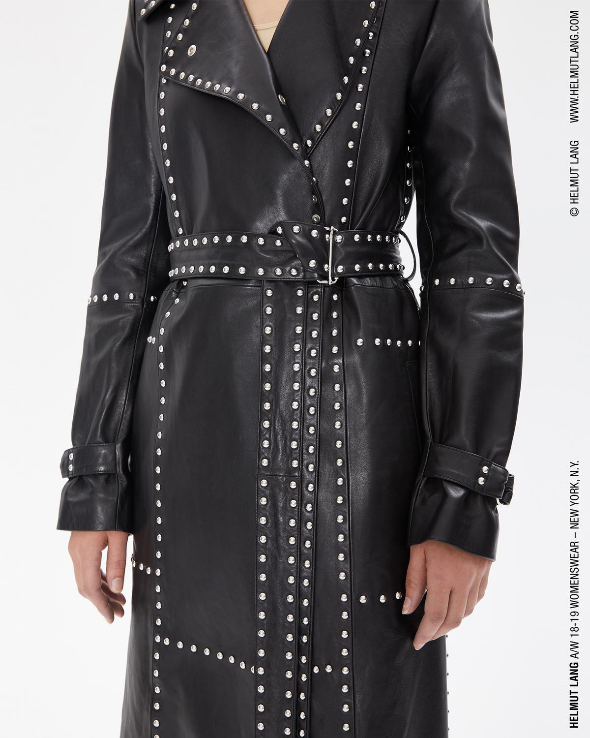 STUDDED LEATHER TRENCH