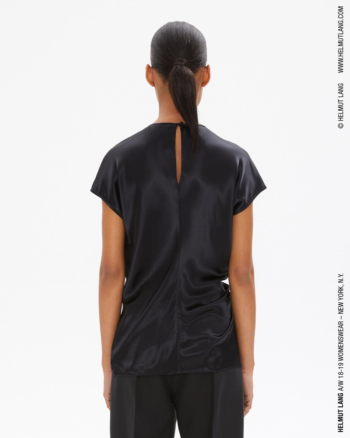 BLACK DRAPED VISCOSE TOP