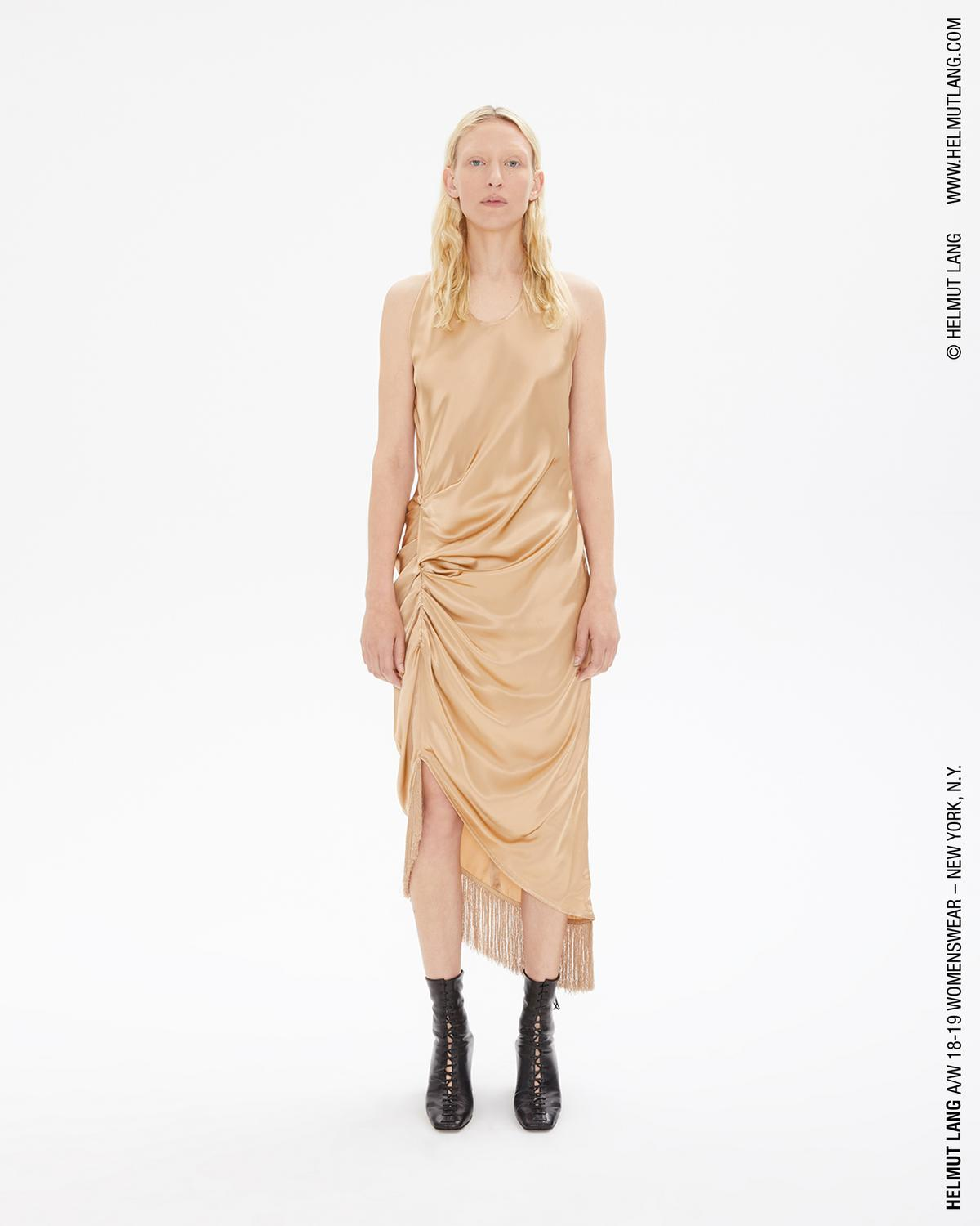 Helmut Lang Plaster Fringe Viscose Dress