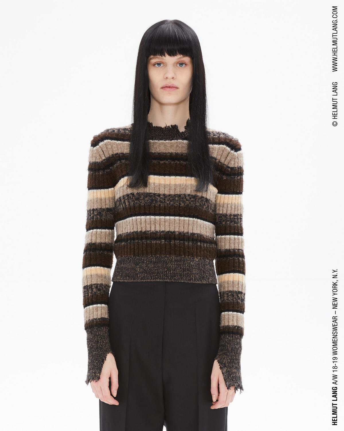 OMBRE RIB SHRUNKEN CREWNECK SWEATER