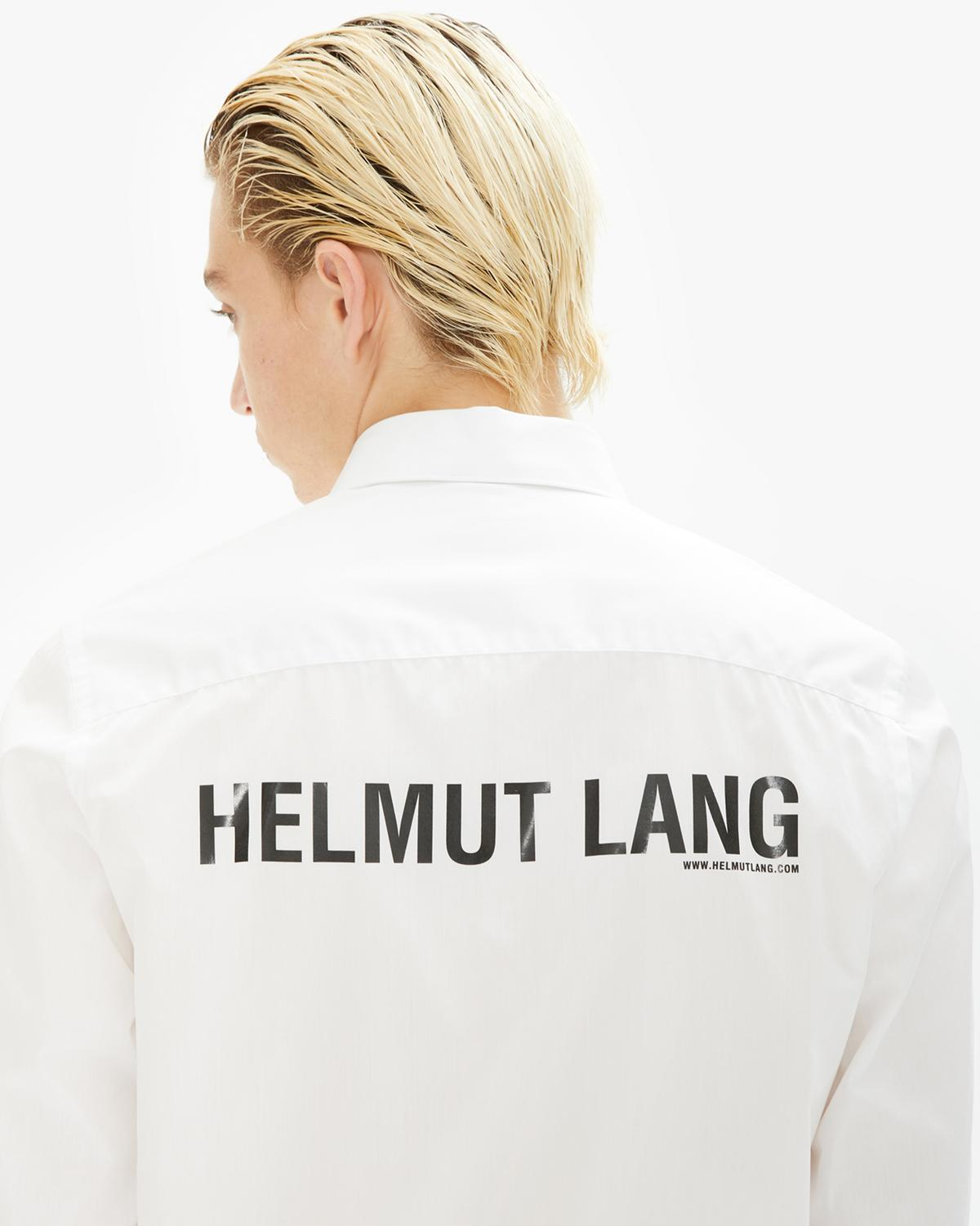 Back Logo Print Long Sleeve Dress Shirt