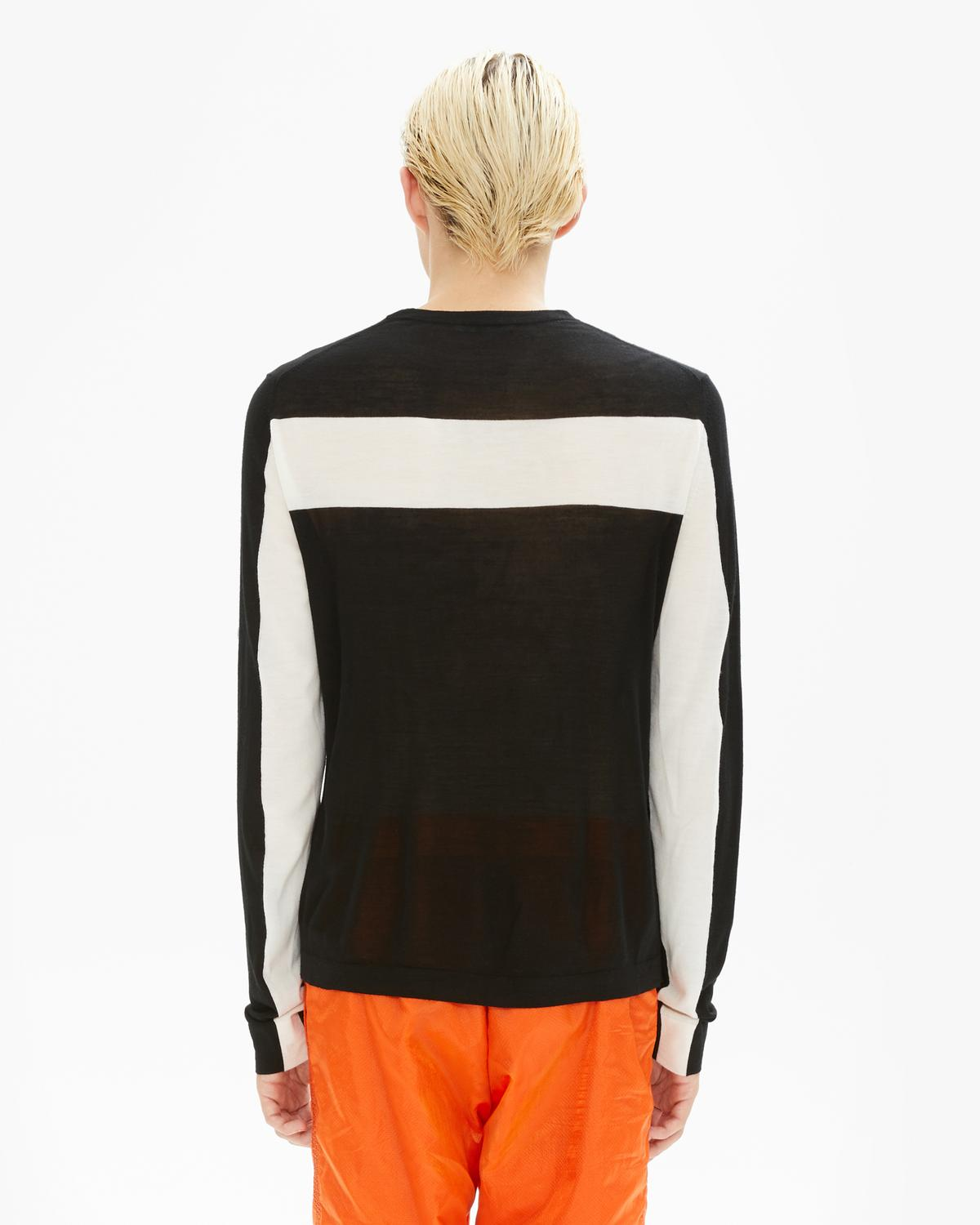 CONTRAST BACK LONG SLEEVE CREWNECK