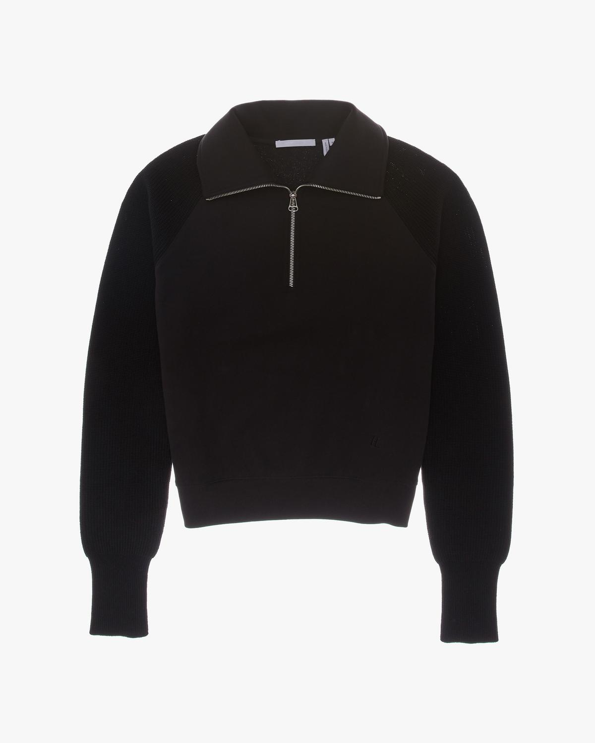 Terry Sweater with Half Zip Collar