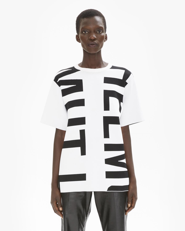 Helmut Lang Optic Whiteblack Helmut Viscose Intarsia Logo T Shirt