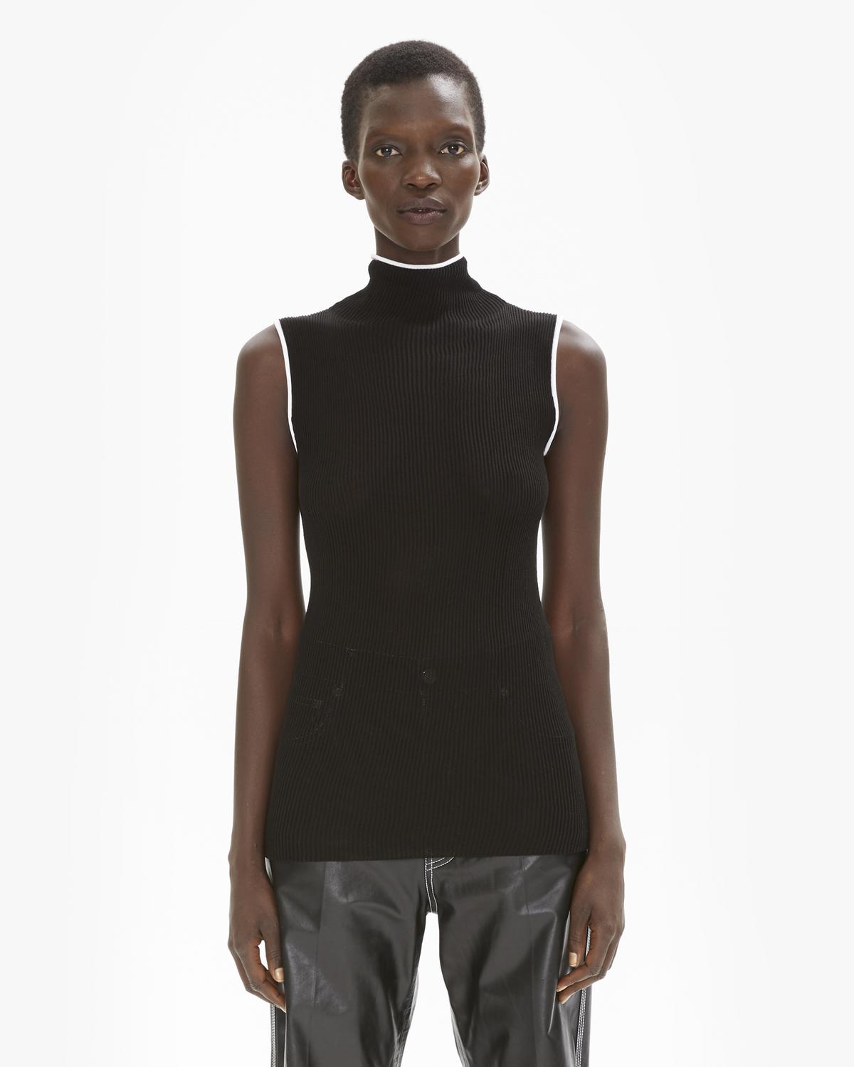 Sheer Rib Turtleneck Tank