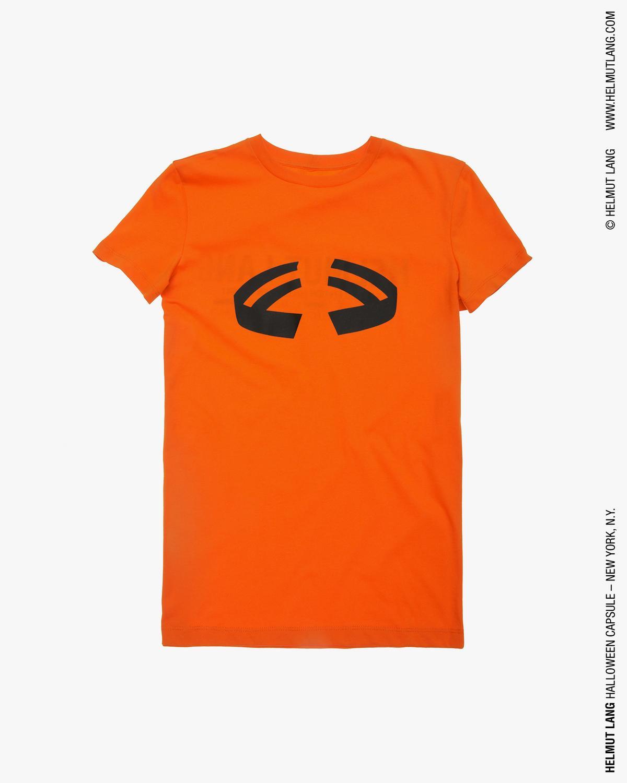 helmut lang men's printed halloween t-shirt in pumpkin orange | www