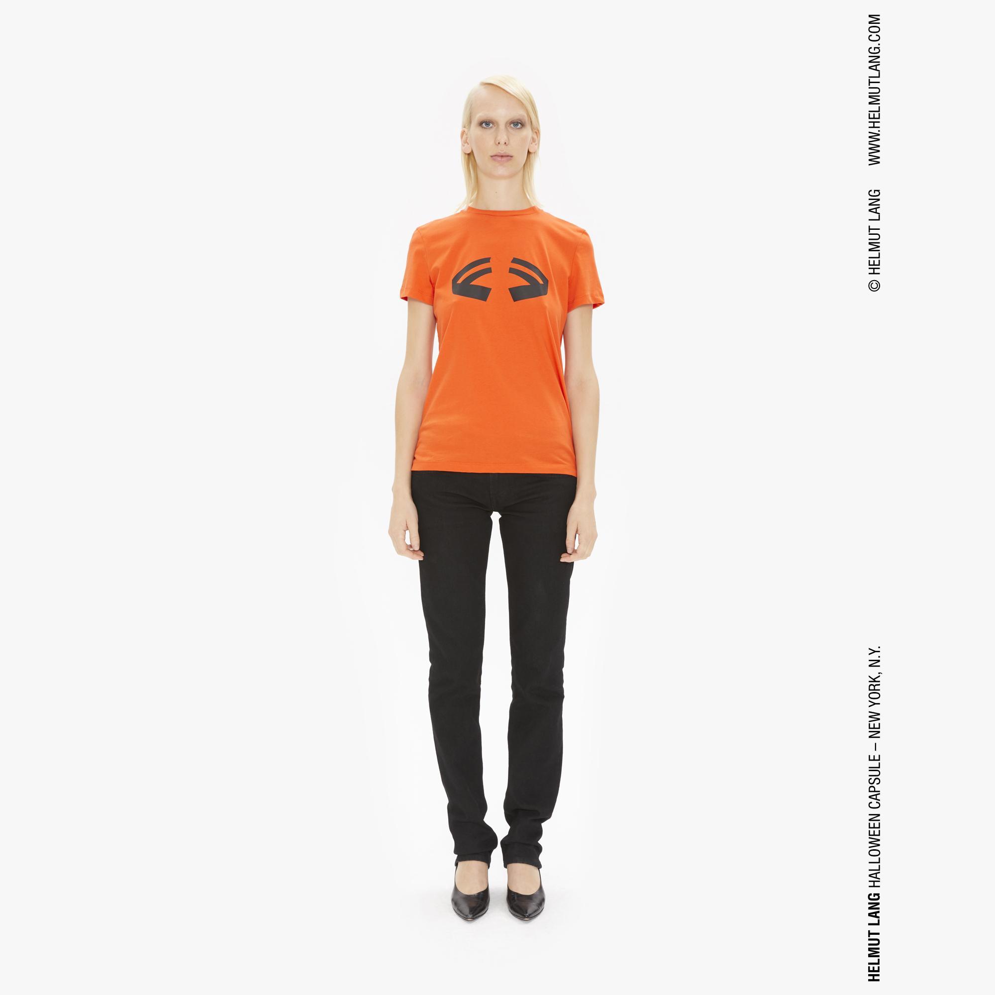 Helmut Lang Womens Printed Halloween T Shirt In Pumpkin Orange