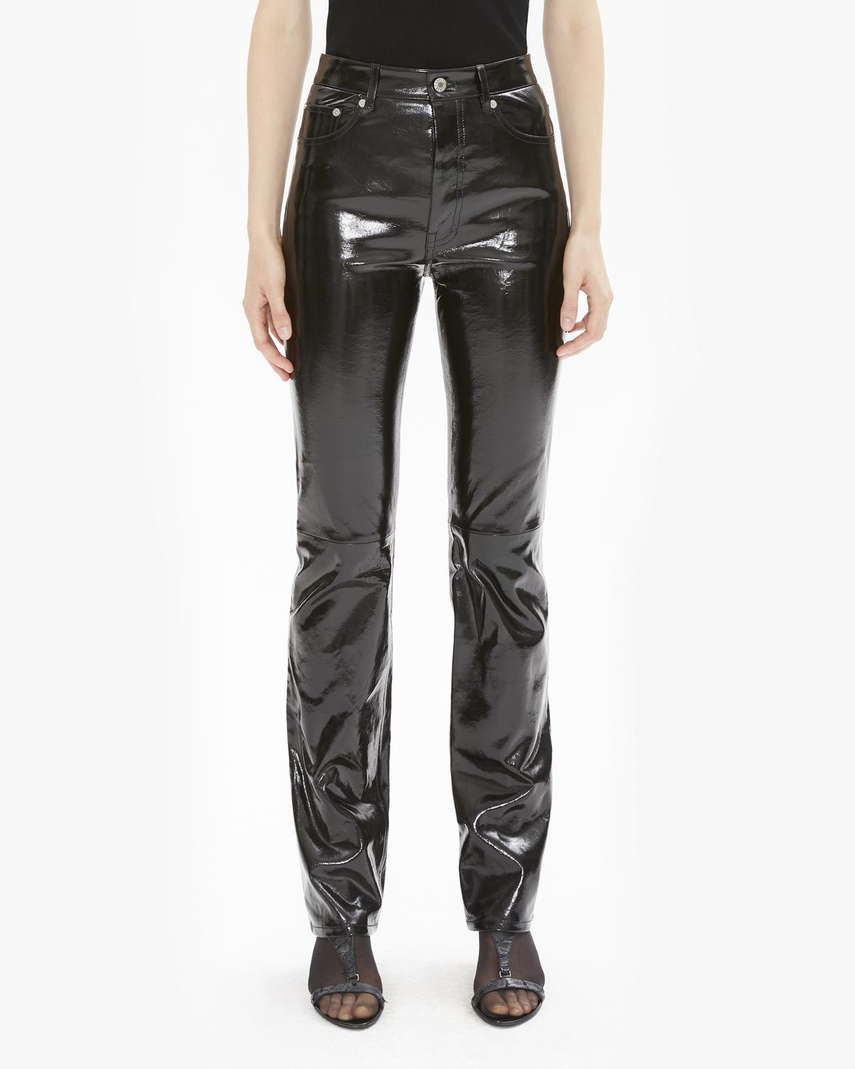 PATENT LEATHER FIVE POCKET PANT
