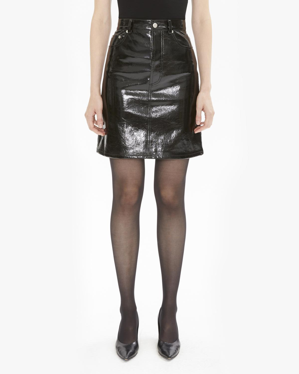 PATENT LEATHER FIVE POCKET SKIRT