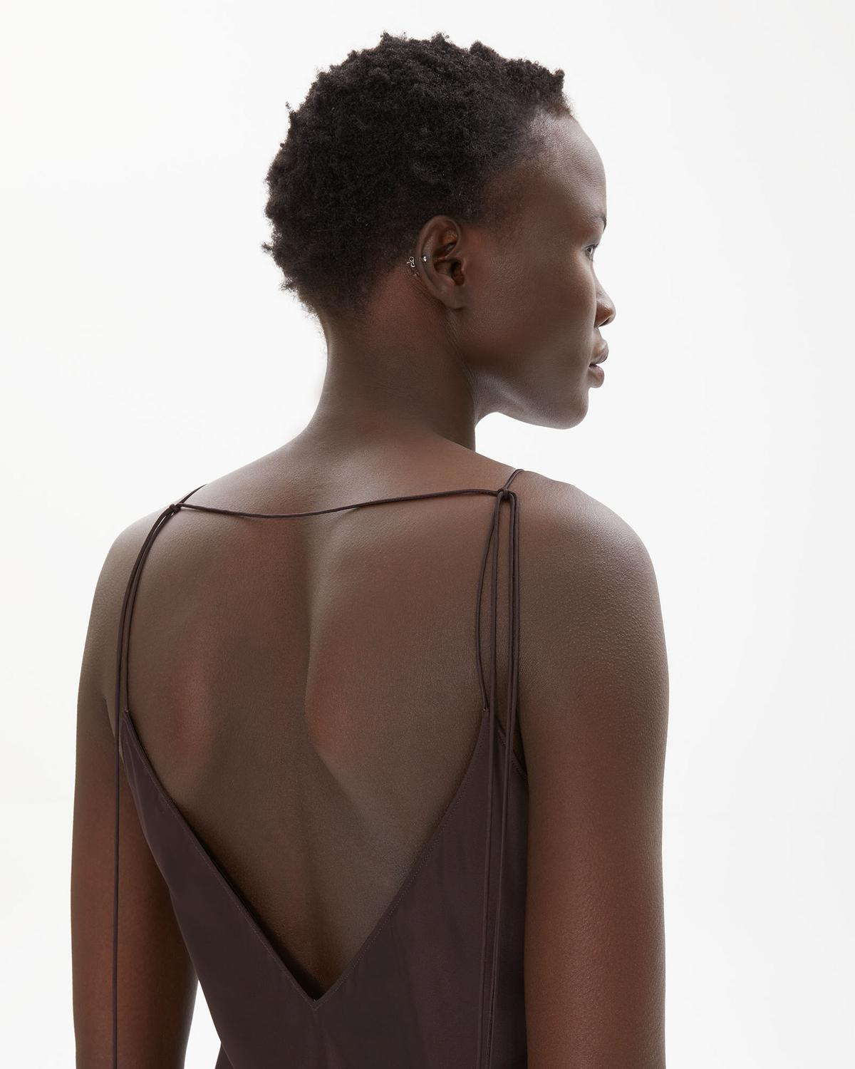 Raw Detail Full Length Slip Dress