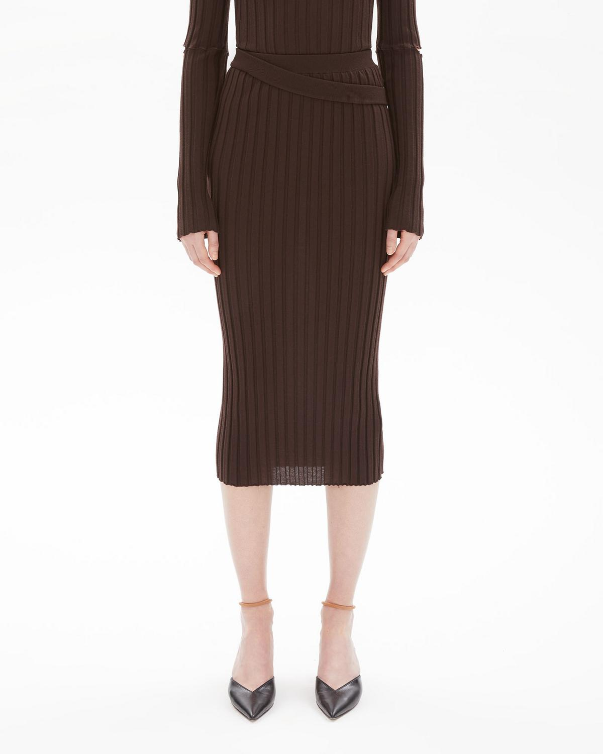 Double Waistband Fine Wool Rib Skirt