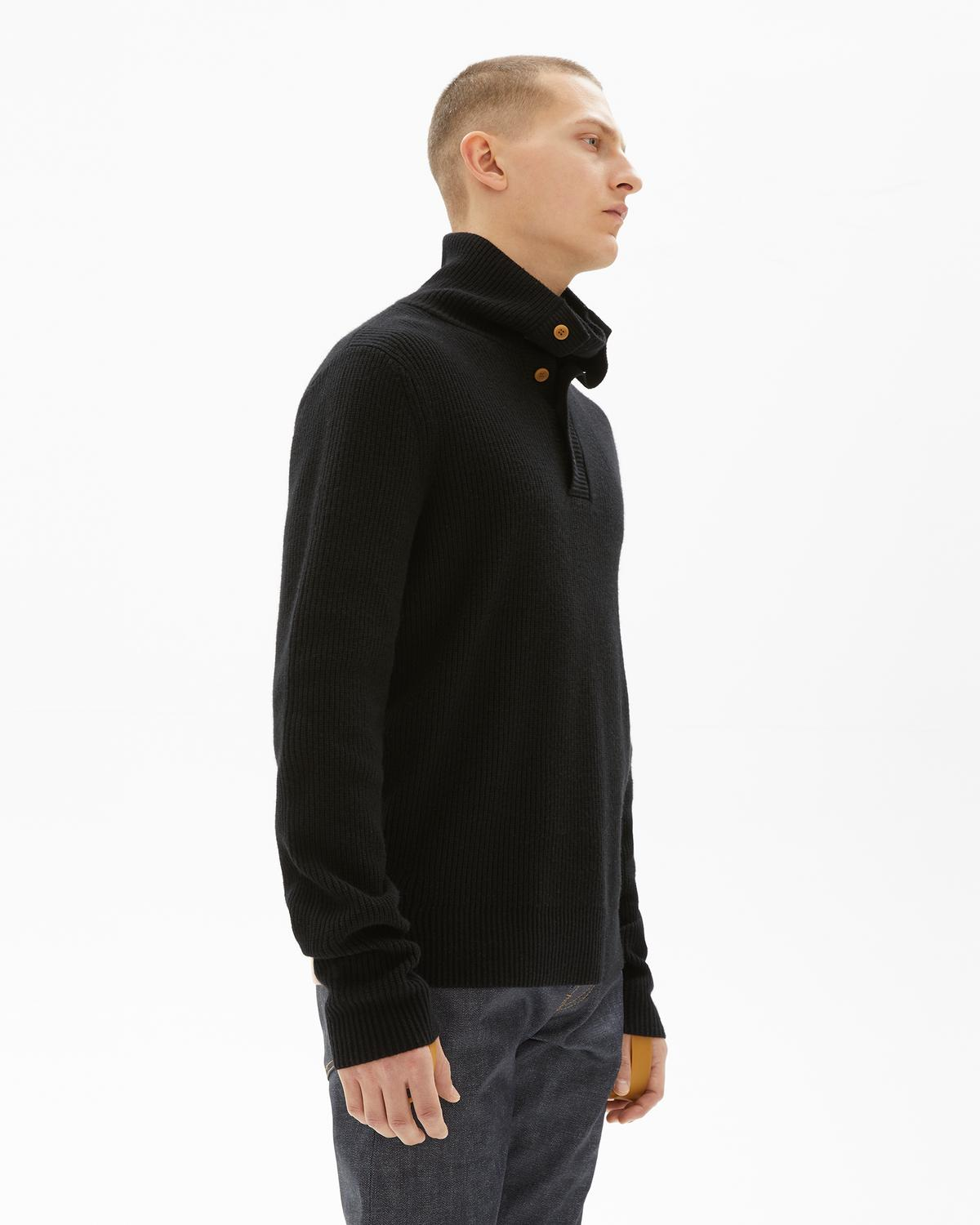 Wool Cashmere Henley Roll Neck
