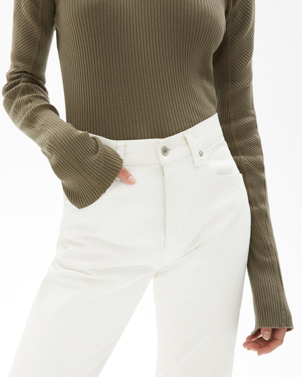 Cotton Rib Crewneck Top