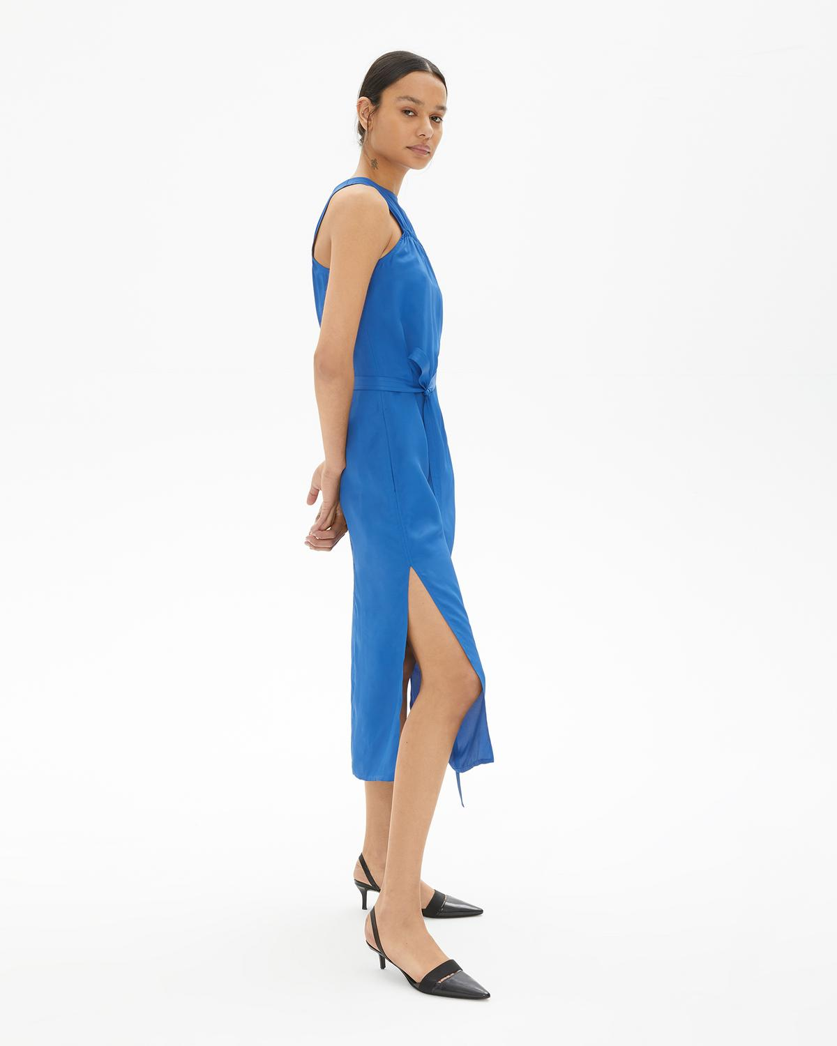 ELASTICATED VISCOSE DRESS
