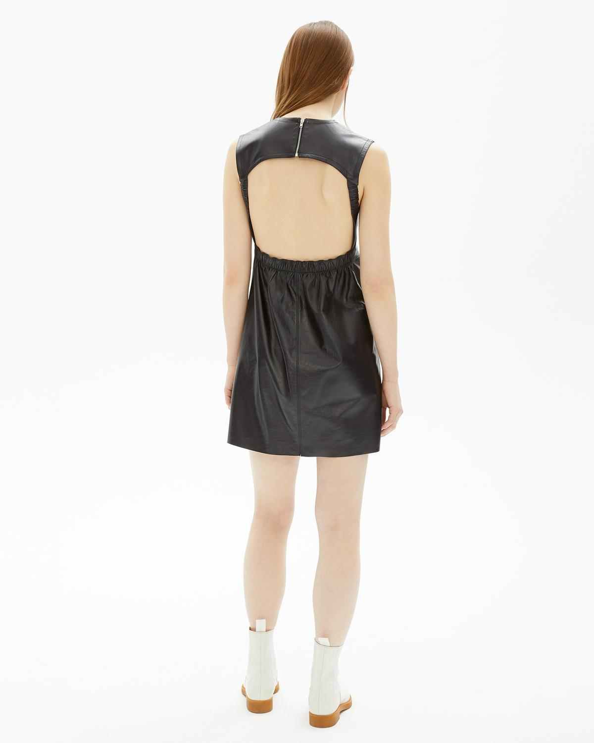 BACK OPEN LEATHER DRESS