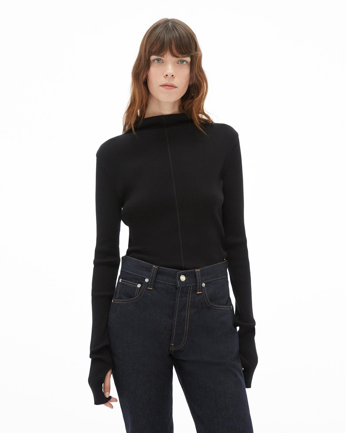 High Neck Rib Top
