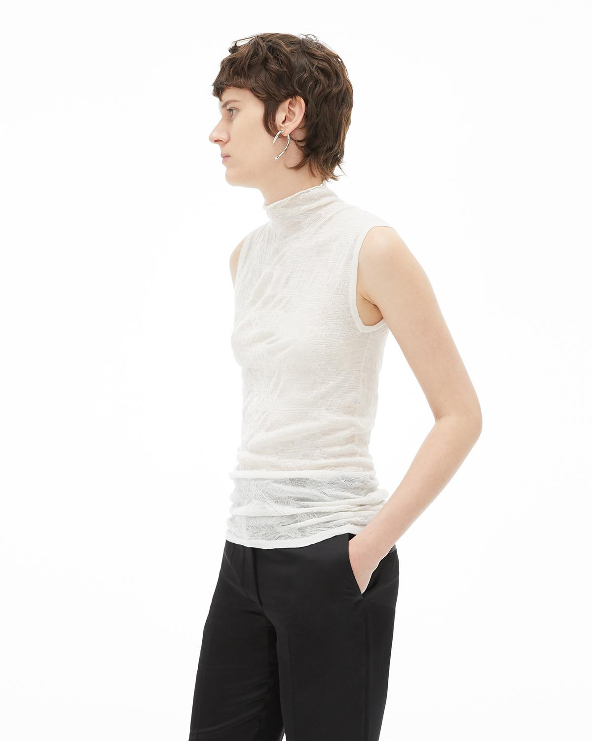 Elasticated Wool Sleeveless T-Neck Sweater