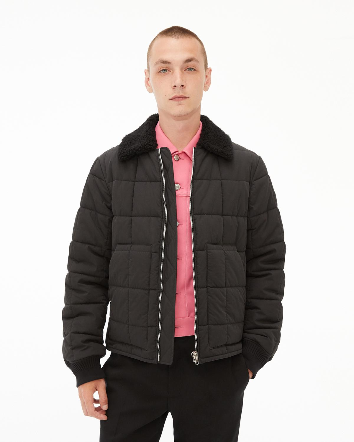 Fur Collar Quilted Bomber Jacket