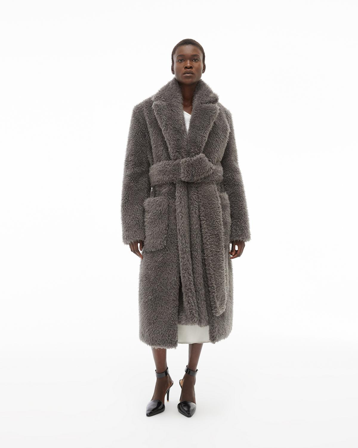 Shaggy Fur Belted Coat