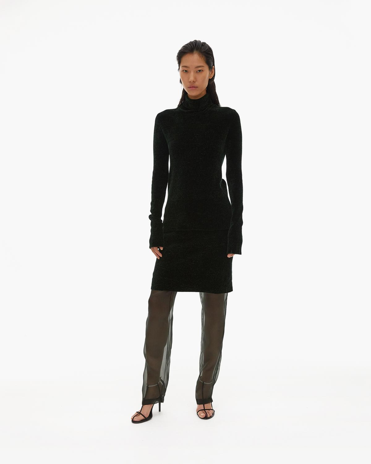 Rib Velvet Turtleneck
