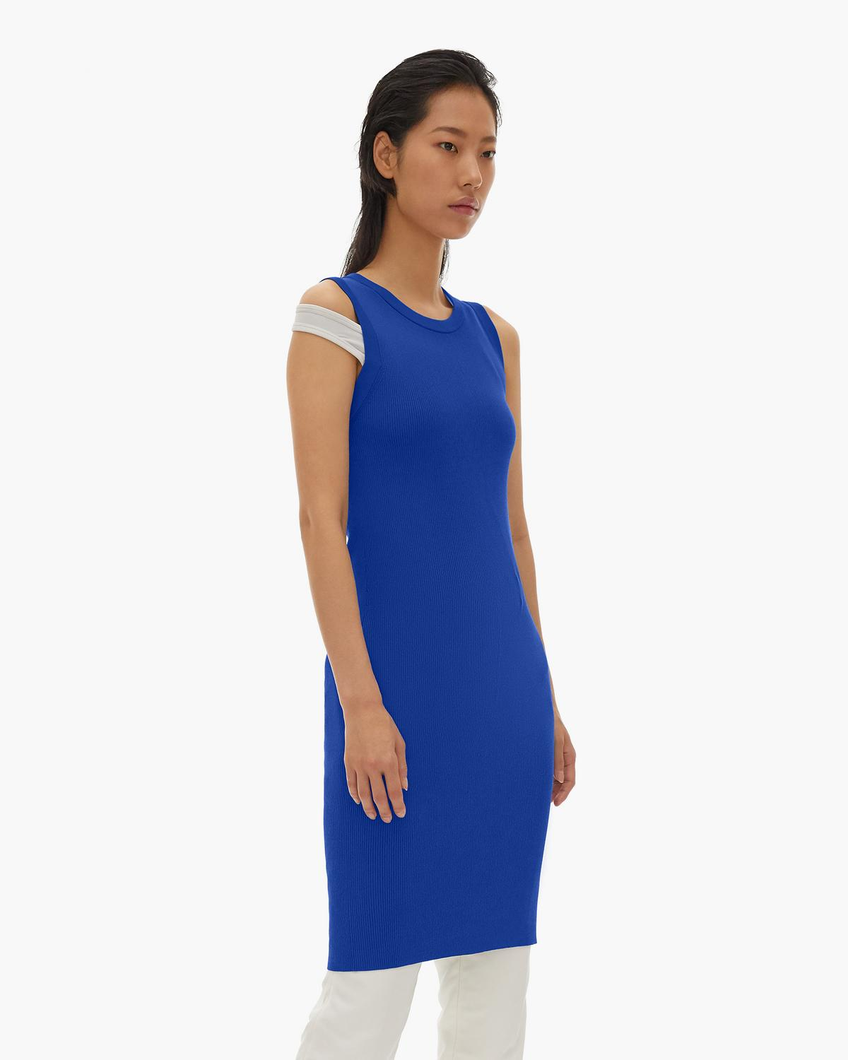 Stretch Viscose Crewneck Dress