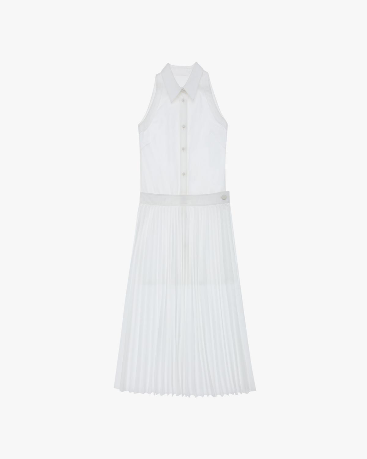 Pleated Button-Up Dress